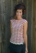 2237 Top crochet with stripy ripple pattern