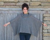 1397 Poncho with dropped stitch pattern
