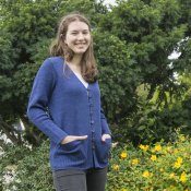 5124 - Cardigan long with ribbed pockets