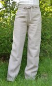 Linen trousers with front zip
