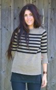 7023 - Linen sweater with stripes and 3/4 length sleeves