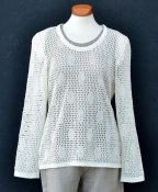7041 - Linen sweater with checkerboard lace pattern