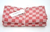 "Kitchen towel ""Check"" red/white twin pack"
