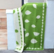 Blanket 'Leaves' 180x130 cm (Green/White)