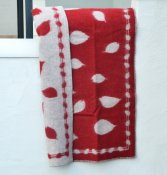 Blanket 'Leaves' Medium 90x130 cm (Red/Light grey)
