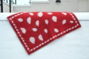 Blanket 'Leaves' Mini 65x90 cm (Red/Light grey)