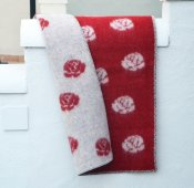 Blanket 'Roses' Mini 65x90 cm (Red/Light grey)