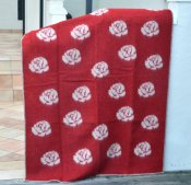 Blanket 'Roses' 180x130 cm (Red/Light grey)