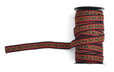 1295-3 Ribbon woven black, red and green 16 mm