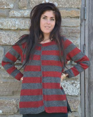 1508 Sweater with stripes and slits