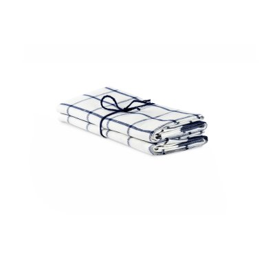 "Kitchen towel ""Check"" White/Navy, twin pack"