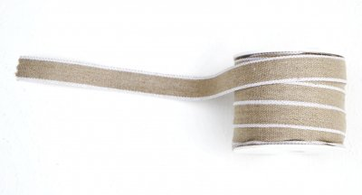 3002-15-1 Ribbon linen white edges 15 mm
