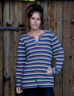 3165 - Cardigan with multi coloured stripes
