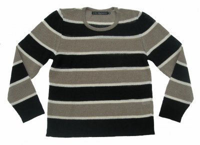 5019 - Linen sweater with multi-coloured stripes
