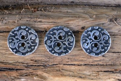 Button metal - silver/black 18 mm