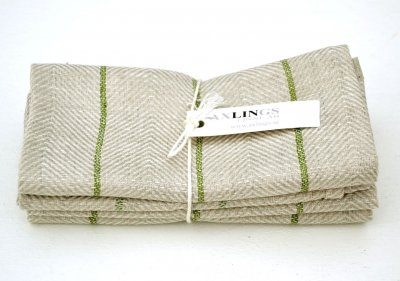 "Kitchen towel ""Marulk"" Natural/leaf green twin pack"