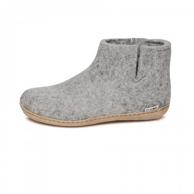 Felted Boot with leather sole - grey