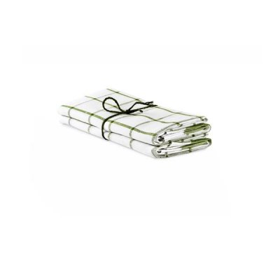"Kitchen towel ""Square"" White/Sage, twin pack"