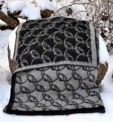 "Blanket ""Sandby"" black/grey 180x130 cm"