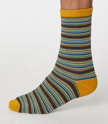 Michele Bamboo Striped Socks - Mustard Yellow
