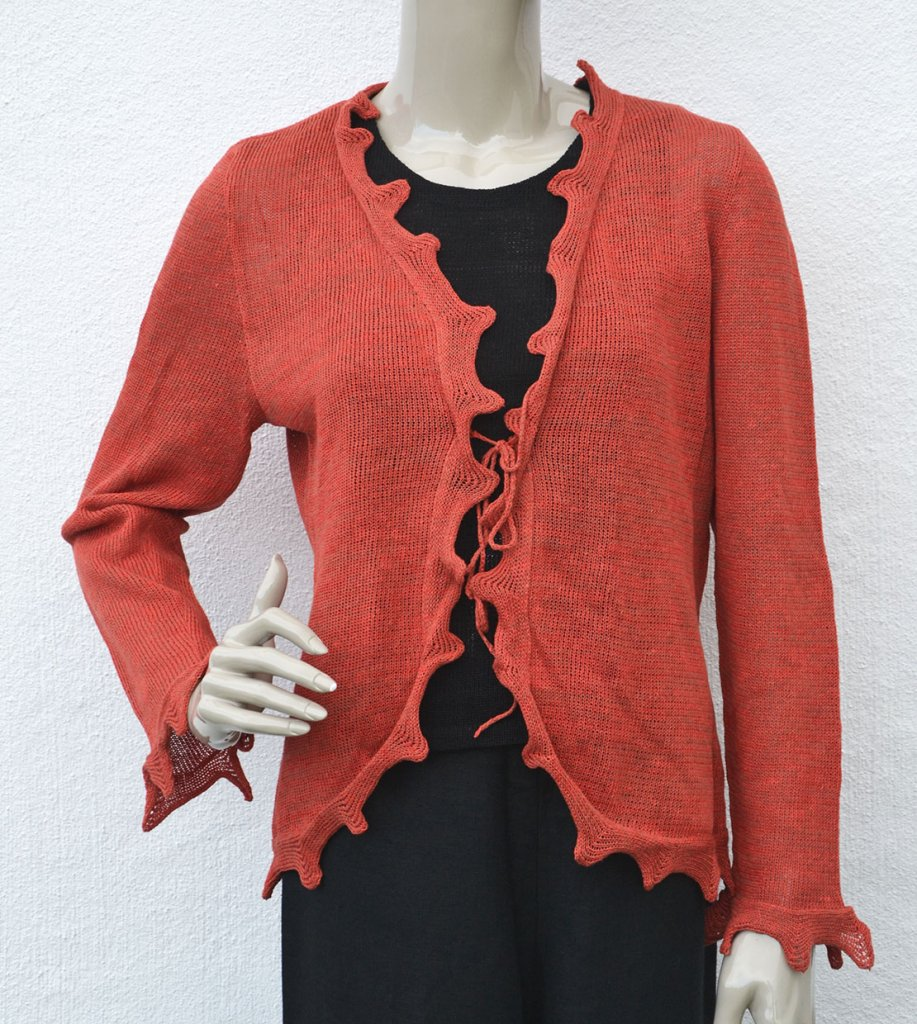 5127 Cardigan with jagged edge and tie waist Cardigans